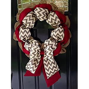 Chevron Burlap Wreath for front door or accent - Red, White, Gray, and Natural - Summer, Fall, Winter, All Year 53
