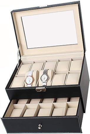 Caja De Reloj para Hombre Caja De Reloj para Reloj Pantalla De Cuero Negra Caja De Regalo para Joyas Y Organizador para Joyas Y Estuche para Joyas Y Cajas para Joyeros (25.5X20X24.5Cm):