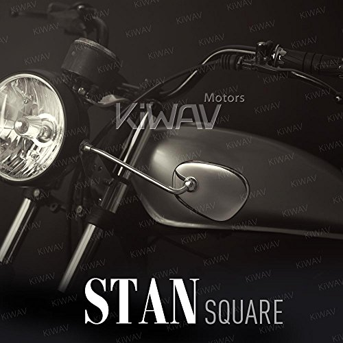 Motorcycle Mirrors Stan Square Chrome Headlight Mount Convex Lens Stainless Steel for Early BMW model Reproduction