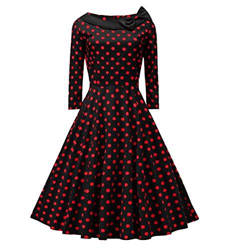 BestWendding VOGTAGE 1950's 3/4 Sleeve Wave Point Retro Vintage Dress With Defined Waist Design XL Size