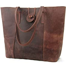 Jack&Chris Genuine Leather Tote Shoulder Handbag with Plaid Canvas Bag, MC506