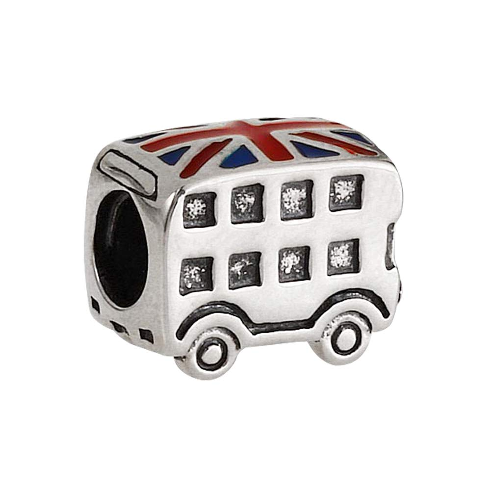 London Taxi Charm / Bus Charm 925 Sterling Silver Beads Travel Charm fit Pandora Bracelets (Bus)