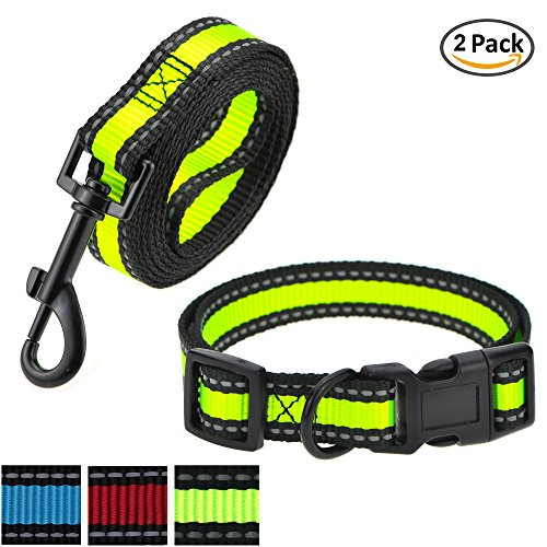 Pet Set Dog Leash Collar (Mile High Life Night Reflective Nylon Strap Smaller Pet Dog Leash, Collar Combo set (Small, Lime Green 2 Pack Leash Collar))