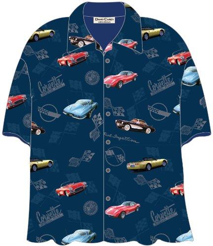 (Corvette Cars Blue Hawaiian Camp Shirt by David Carey (XL))