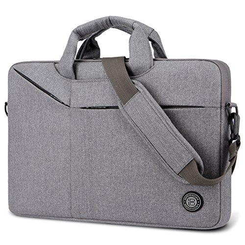 Laptop Bag,BRINCH Slim Water Resistant Laptop Messenger Bag Portable Laptop Sleeve Case Shoulder Bag Briefcase Handbag with Strap for Up to 15.6 Inch Laptop/Notebook Computer Men/Women,Light Grey