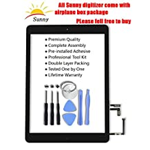 iPad 5 iPad air 1st Black Screen Replacement Touch Screen Digitizer Glass Assembly - Includes Home Button Camera Holder Pre Installed Adhesive Stickers and Professional Tool Kit