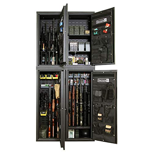 Secure It Gun Storage Agile Quad Pro Model 52 and 40 Combo Kit, Holds 24 Rifles, uses CradleGrid Technology, Heavy Duty Gun Safes with Keypad Control, Safely Stores Guns, Rifles, Easy Assembly