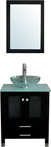 BATHJOY 24 Modern Wood Bathroom Vanity Cabinet Tempered Clear Glass Vessel Sink Top Bowl Free Faucet Drain with Mirror