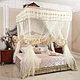 Royal- European Style Square Top Mosquito Net Three-door Encryption Thickening Single Double Bed Stainless Steel Bracket ( Color : Beige , Size : 2.0m (6.6 feet) bed )