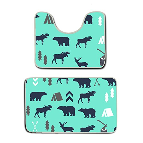 - AMERICAN TANG Mint Grey Navy Blue Bear Moose Forest Arrow Pattern Non-Slip Bathroom Rug Shag Shower Mat Machine Washable 2 Piece Bath Mats Bathroom Rug Contour Mat