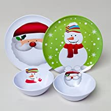 "Set of 4 Christmas / Holiday Melamine Embossed 10"" Plate and 6.5"" Bowl: Snowflake and Santa Design"