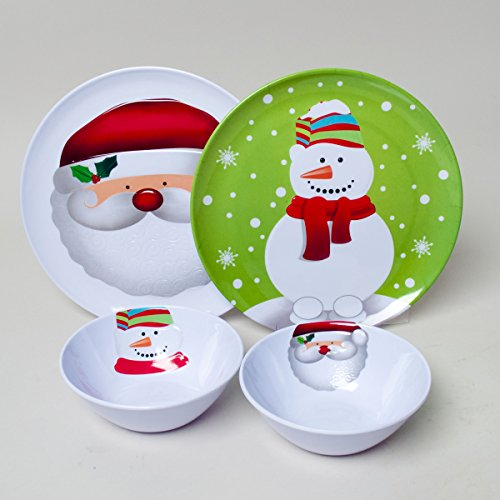 Set of 4 Christmas / Holiday Melamine Embossed 10