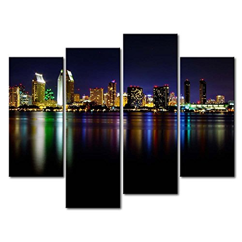 So Crazy Art 4 Panel Wall Art Painting San Diego Colorful Reflection Sea Pictures Prints On Canvas City The Picture Decor Oil For Home Modern Decoration Print For Decor Gifts