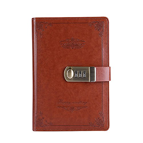 ABBER Journal with Lock, PU Leather Combination Lock Journal Medium Size for Men/women Daily Use Gift Password Diary with Combination Lock Stationery Student Handbook Notepad (Leather Journal Lock)