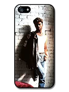 AMAF ? Accessories George Michael Posing on a Wall with Leather Jacket Portrait case for iPhone 5 5S