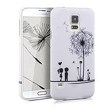 kwmobile TPU SILICONE CASE for Samsung Galaxy S5 / S5 Neo / S5 LTE+ / S5 Duos Design dandelion love black white - Stylish designer case made of premium soft TPU