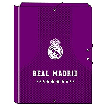Safta SF-511677-068 - Carpeta folio 3 solapas, 2ª equipacion temporada 2016/2017, diseño Real Madrid: Amazon.es: Oficina y papelería