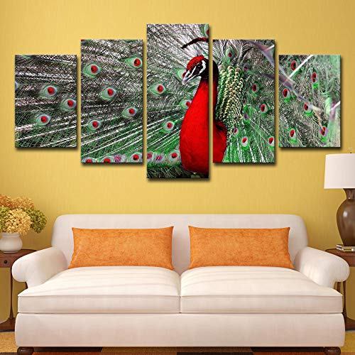 Wall Art Poster Modern Home Decor Living Room 5 Pieces Animal Elegant Red Peacock Canvas Print Painting Modular Pictures 5p2422 no Frame M: 10X15-2P 10X20-2P 10X25-1P inch