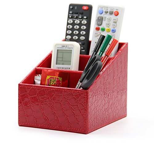 Organizador de escritorio Medifier, diseño elegante de piel, para bolígrafos, lápices, teléfonos móviles, tarjetas de visita, mandos a distancia, ...