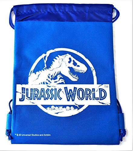 (Jurassic World Drawstring Backpack Sling Tote School Sport Gym Bag (Blue))