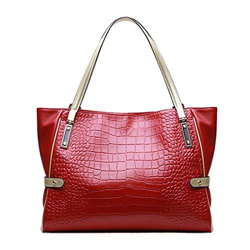 Rojo Girl para Bolso al Piel E hombro Lisa mujer de Medium H1Rnqvqx