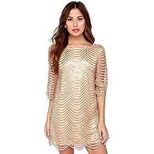 Women Sequins Glitter Metallic Stripe Hollow out Crochet Flapper Dress