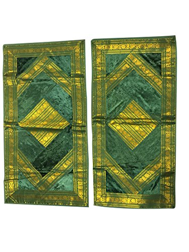 2 Green Bed Pillow Cover Vintage Silk Sari Border Patchwork Pillow Cases 40X20