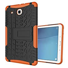 "MOONCASE Galaxy Tab E 9.6-inch Case Built-in Kickstand Hybrid Armor Case Detachable 2 in 1 Shockproof Tough Rugged Dual-Layer Case Cover for Samsung Galaxy Tab E 9.6"" Orange"