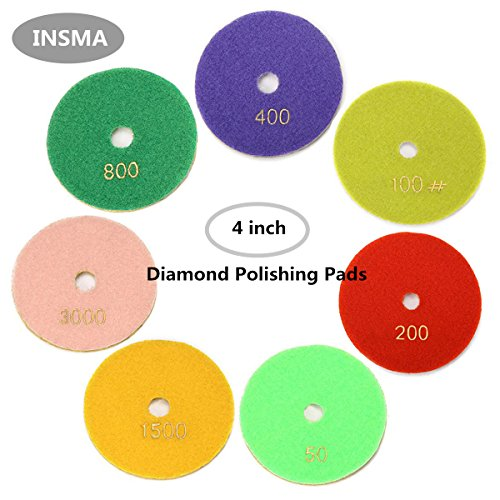 INSMA 4 inch Diamond Polishing Pads 7 Pcs Set for Marble Granite Concrete Countertop Glass Stone Floor Renew, 7 Pads Mix 50 to 3000 Grit (Polishing The Diamond)