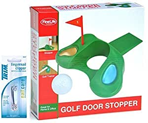 Golf Door Stopper Indoor Golf Practice Novelty Gag Gift Idea for Dad Husband Men Boss with Nail Clipper