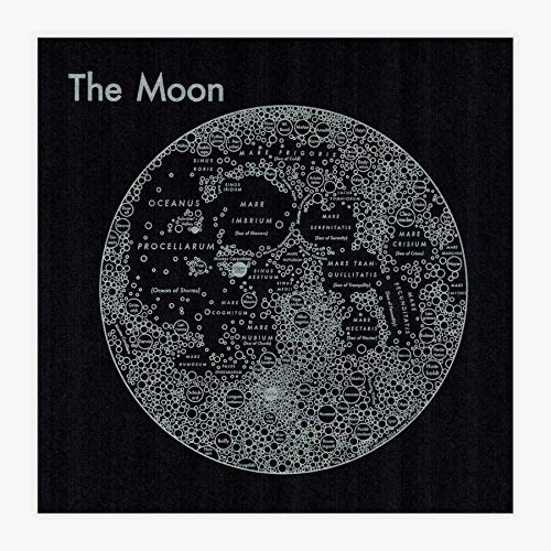 Amazon Com Moon Map Letterpress Print Handmade