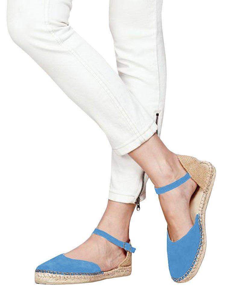 Huiyuzhi Womens Ankle Straps Buckle Espadrilles Flat Sandals Platform D'Orsay Dress Sandal B07DKXJBJD 9.5 B(M) US|1-blue