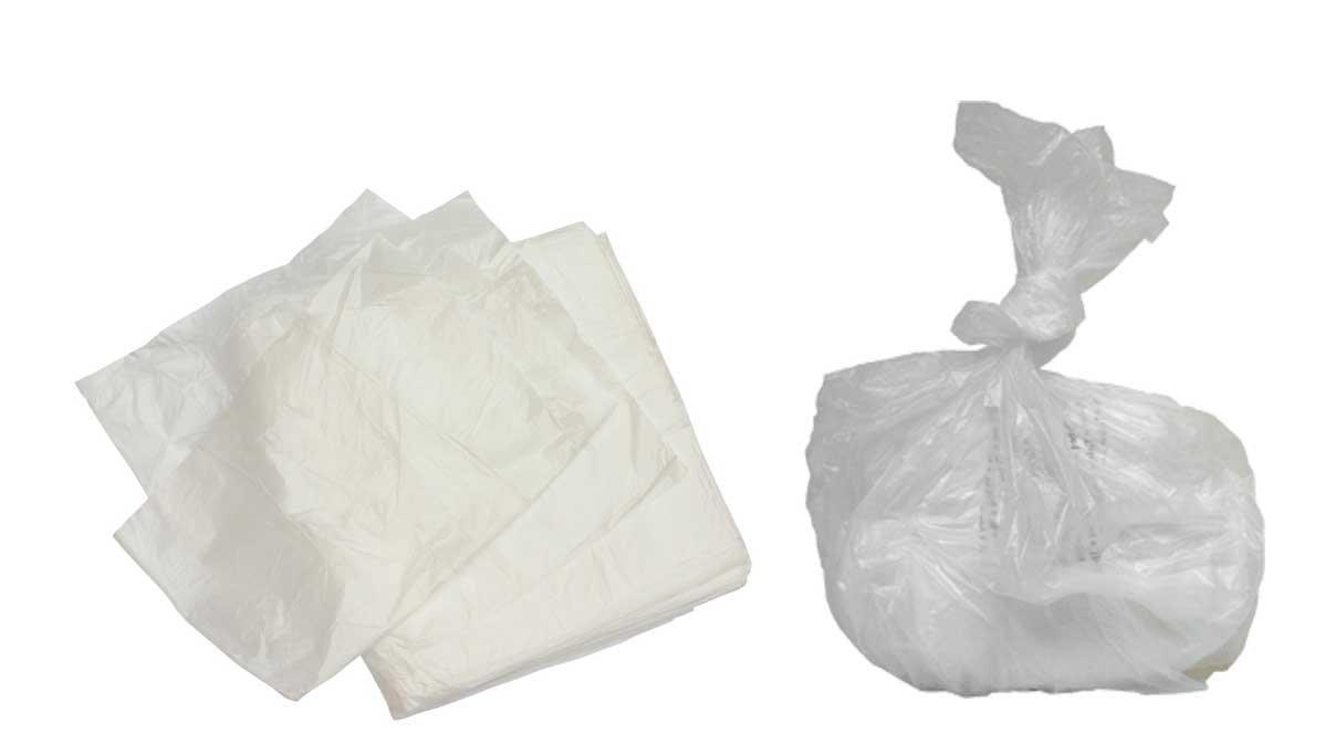 100 x WHITE PEDAL BIN LINERS - WHITE LIGHT DUTY BIN BAG - PED500 PEDAL BIN LINER