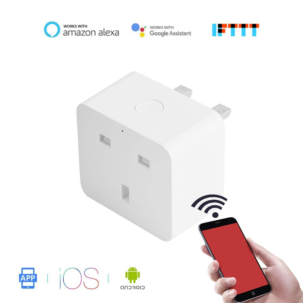 Garsent WiFi Smart Plug, Mini Socket Outlet Wifi Smart Plug Compatible with Alexa/Google Home, Remote Control, No Hub Required, Smart Home Remote Switch Timer Control.