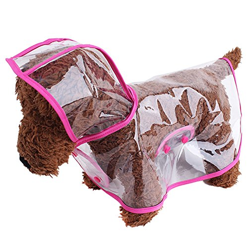 Pet Raincoat , Small Dog Waterproof Clothes Rain Jacket Puppy Transparent Poncho Rainwear Clothes for Small Dog (S, Pink)