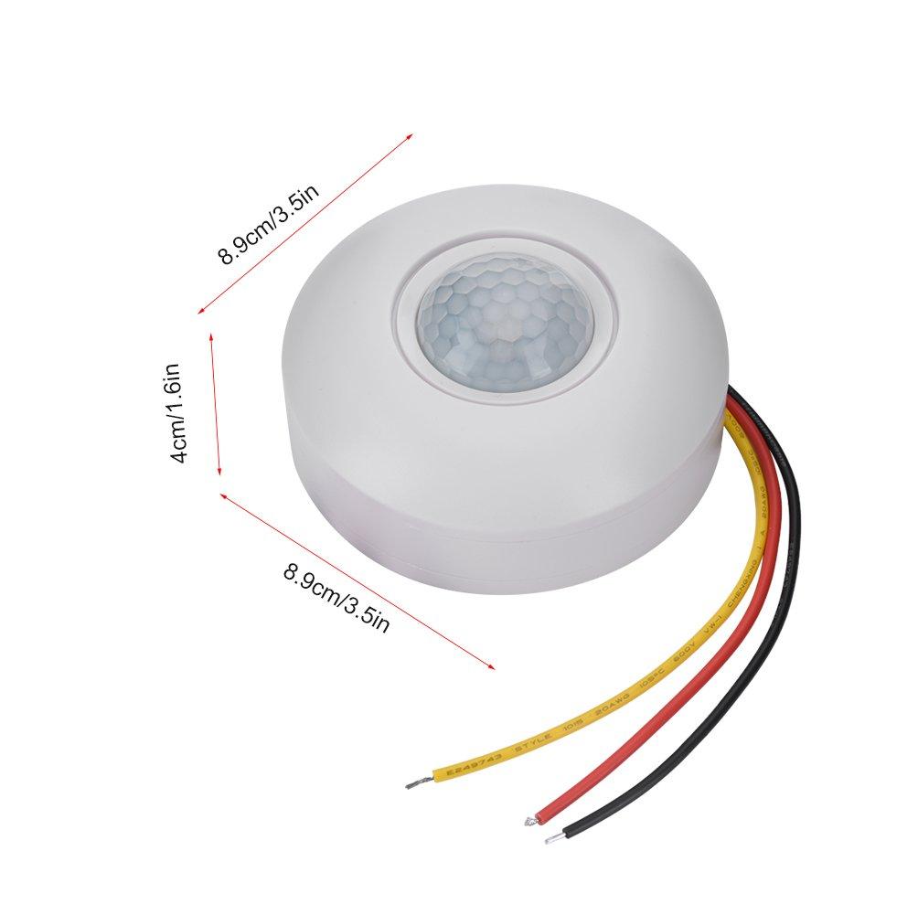 Topiky Interruptor de Sensor de Movimiento PIR infrarrojo de 360 /° de 12V con retardo de Tiempo para pasillos//ba/ños//s/ótanos//garajes