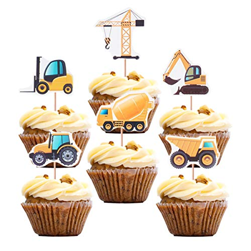 Construction Theme Cupcake Toppers Topoox 48 Pack Dump