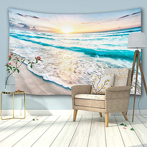 PROCIDA Home Tapestry Wall Hanging Nature Art Polyester Fabric Sea Beach Theme, Wall Decor for Dorm Room, Bedroom, Living Room, Nail Included - 90