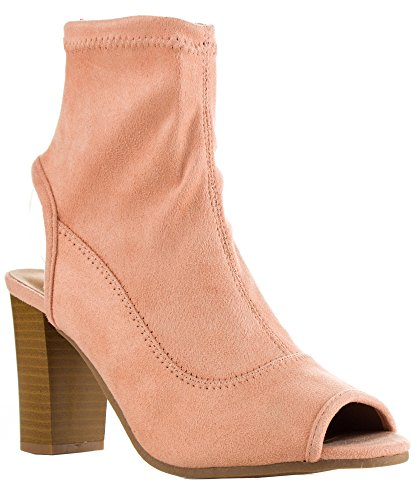 Qupid Women Fashion Vegan Suede Cut Out Heel Peep Toe Chunky Block Stacked Heel Slip On Ankle Booties