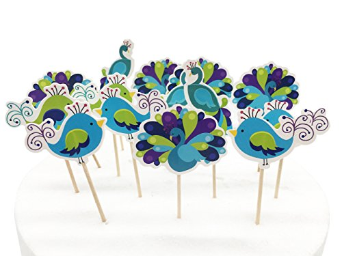 Peacock Cupcake Cake Topper 24Pcs/set, Cute Peacock and Birds Themed Party Decorative Cupcake Topper -