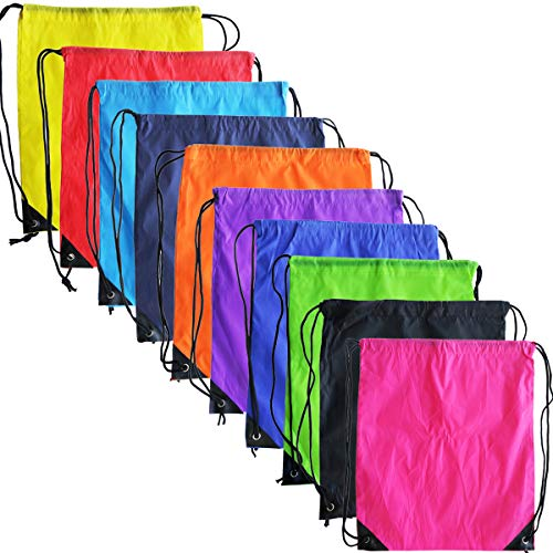10 Colors Drawstring Backpack Bags Sack Pack Cinch Tote Sport Storage Polyester Bag for Gym Traveling (10 Colors) ()