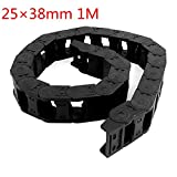 HHY Plastic Cable Drag Chain Wire Cord Carrier 25mm x 38mm 1M Length Black