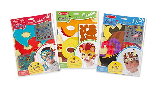 Melissa & Doug Simply Crafty Activity Kits Set - Superhero Masks & Cuffs, Safari Masks, Adventure Hats