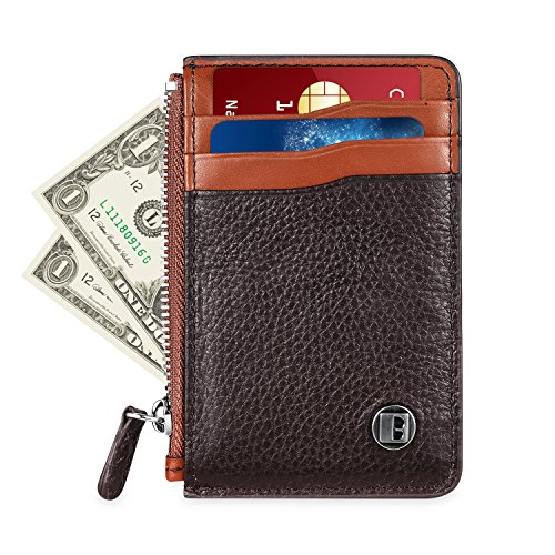 Genuine Leather Wallet, RFID Blocking Handmade Card Holder with Zipper (Brown)