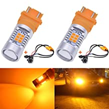 KaTur 3155 3157 3157A 3457A Amber LED Bulbs 2835 42SMD 12V Lens LED Turn Signal Light with Canbus Decoder Error Free 50W 8ohm Load Resistors Harness Set (Pack of 2)