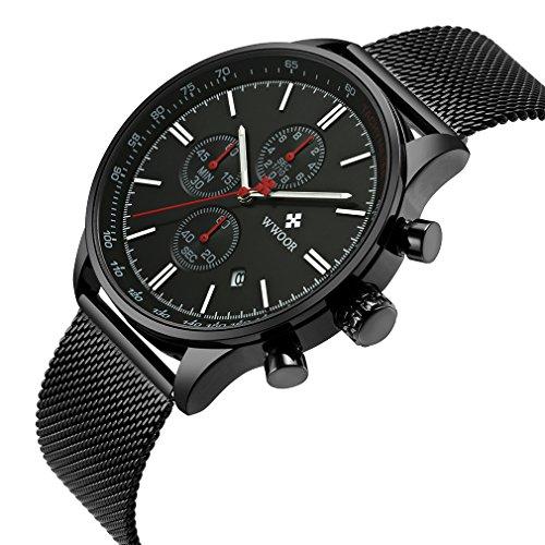 Wwoor Men Sport Quartz Wrist Watches 3 Dial 1/10 Second Minute Day Dashboard 6 Hands Stainless Steel Strap Waterproof Watch WR62B (3 Hand Day Date Watch)