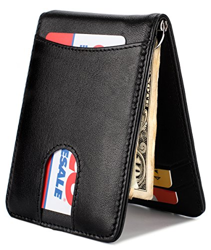Pull Card (Mens Wallet Slim Leather Front Pocket Wallet Money Clip with Pull Tab Slot and RFID Blocking - Black)