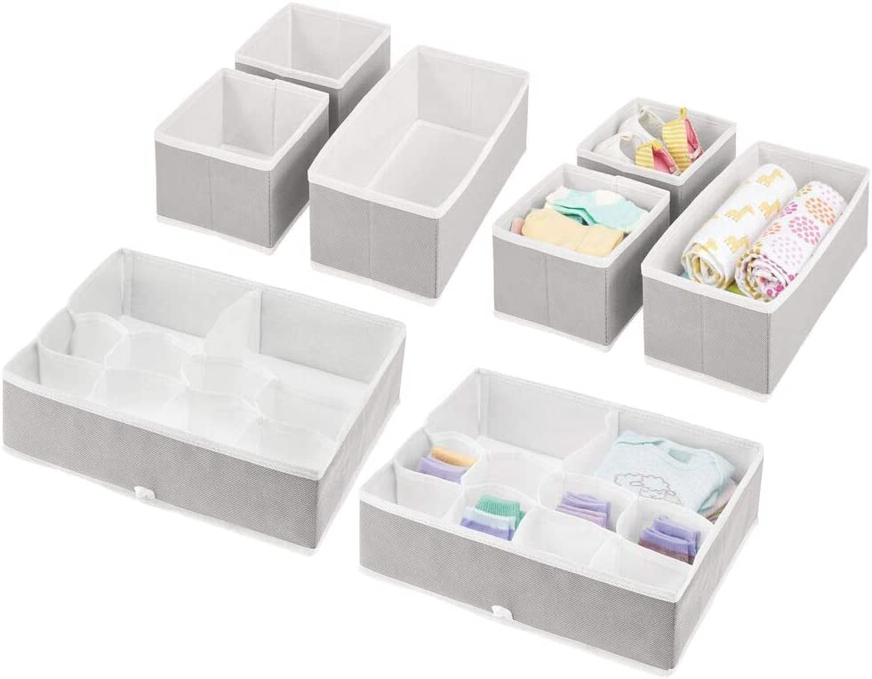 mDesign Soft Fabric Dresser Drawer and Closet Storage Organizer Set for Child/Kids Room, Nursery - Includes Organizer Bins in 3 Sizes - Decorative Print with Solid Trim - Set of 8 - Light Gray/White