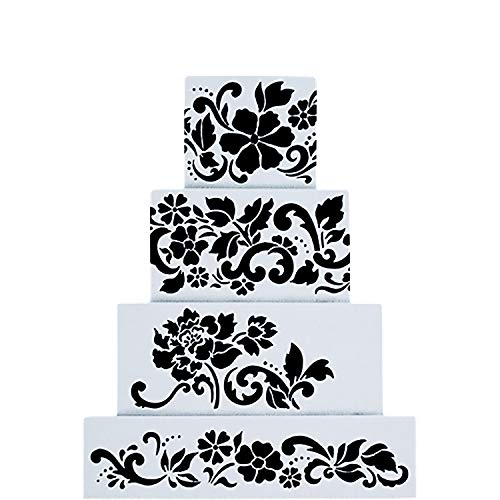 Fondant Cake Decorating Stencil Royal Icing Template for 4 Layers' Cake 4pcs/set ()
