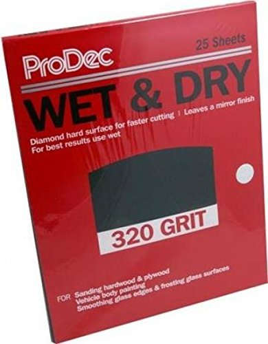 ProDec 25 x Sheets Wet And Dry Sandpaper 320 Grit Ideal For Hardwood Plywood And Vehicle Body Painting by ProDec